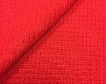 USA Made Premium Quality Cotton Blend Waffle Weave Fabric (Wholesale Price Available By the Bolt) - 7274PC Red - 1 Yard