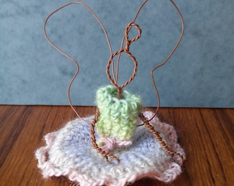 sculpture figurine decorative thoughtful fairy (copper wire and wool)