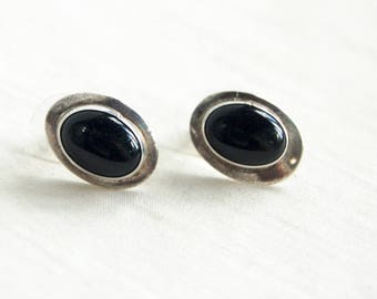 Oval Onyx Earrings Vintage Black Stone Posts Modern Everyday Jewelry Sterling Silver Posts