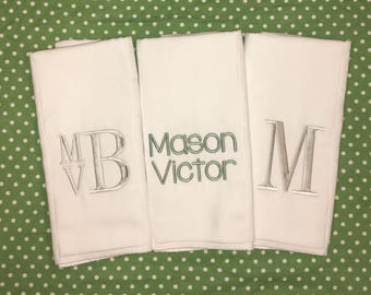 Monogrammed Boutique Burp Cloths, Personalized burp cloths, Set of 3, baby gift, baby shower gift, personalized baby boy