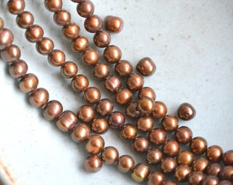 Chocolate Brown Pearls, Freshwater Pearls, Chocolate Potato Pearls, Round Pearls, Brown Pearls, Natural Pearls,  16'' Strand, BS17-1128A