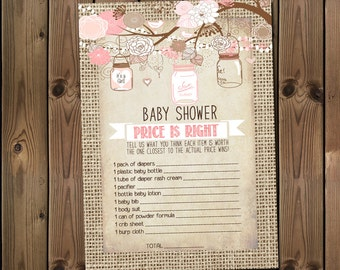 Price is Right Baby Girl Shower Game, Immediate Download, Printable Game - 53