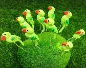 10 Terrarium Mini Green Color Parrot Stake Miniature Dollhouse Fairy Garden
