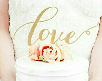 """Gold Glitter Calligraphy """"Love"""" Cake Topper - Great for Wedding, Valentines Day ,Birthday Party, Baby Shower, Anniversary Cake Decorations"""