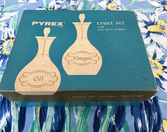 Vintage Clear Pyrex Cruet Set In Original Box #01478