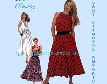 2) Simplicity 9695 Womens Easy Pullover Dress Flared Skirt 3 Styles sz 4 6 8 10 12 Vintage Christie Brinkley Cold Shoulder Pattern Uncut FF