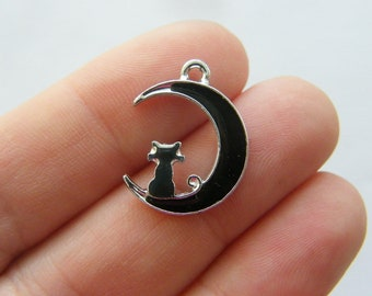 6 Cats moon star charms silver and black tone A817