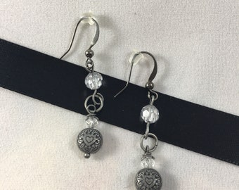 Crystal and Antique Silver Drop Earrings