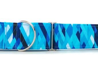 Blue Sunburst Collage Pet Collar (Martingale, Buckle, or Tag)