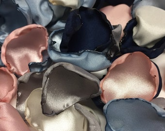 Blush pink, grey/silver, ivory, navy blue & dusty blue flower petals, rose petals, table decor, flower girl petals, wedding decor