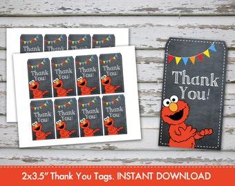 Elmo Thank you Tags, Elmo Favor Tags, Elmo Thank You Labels, Elmo Treat Bag Tags, Elmo Favor, Sesame Street Thank You. INSTANT DOWNLOAD