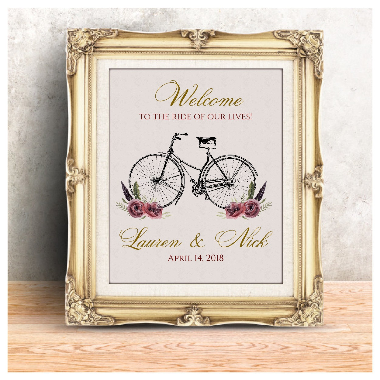 Vintage Bicycle Wedding Welcome Sign Rustic Welcome Sign