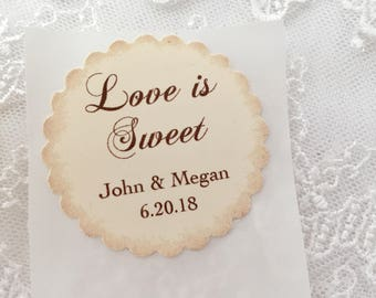 Love Is Sweet Stickers Personalized Wedding Stickers Set of 10 Favor Seals Name and Date