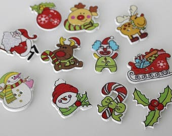 """30 PC Painted wood buttons 28mm - Wooden Buttons ,buttons, natural wood buttons """"christmas"""" A102"""