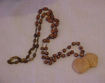 Unique NECKLACE, made w/OLD ROSARY Beads & Vintage, South Pacific Coconut Shell Beads, Leaf Shaped-Very Unusual-OoAK-Delicate and Quaint