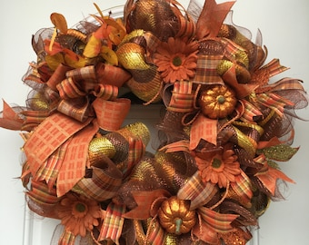 Fall wreaths for front door,Fall wreath, Autumn wreath, Fall colors, Thanksgiving wreath, Fall decor, front door fall wreath