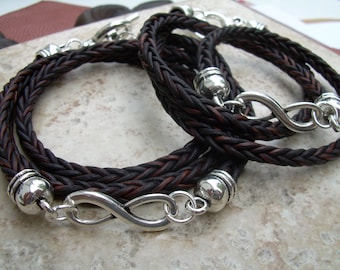 His and Hers Set of Infinity Bracelets, Couples Jewelry, Couples Bracelets, Leather Bracelet, Infinity Jewelry, Womens Jewelry,Mens Bracelet