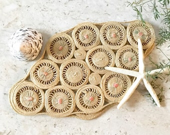 Vintage Woven Placemats • Natural Fiber Table Decor  • Bohemian Decor