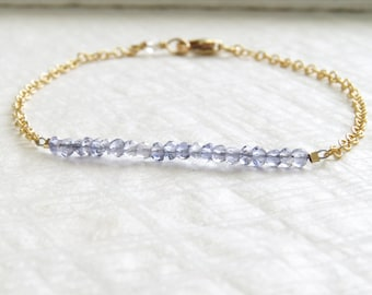 September Birthday Gift • Iolite Bracelet • Water Sapphire • Iolite Gemstone • September Birthstone • Simple Bracelet