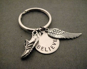 RUN BELIEVE FLY Key Chain / Bag Tag - Ball Chain or Key Ring - Running Shoe Charm - Hand Stamped Believe Charm - Wing - I Can Fly Key Chain