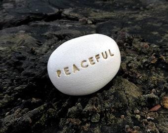 PEACEFUL - Ceramic Message Pebble