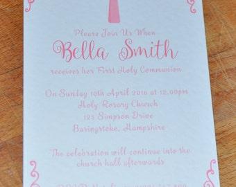 First Holy Communion Invitation, Holy Communion Invite, First Communion, 1st Communion Invitation, Communion Invitations, Pink Invitations