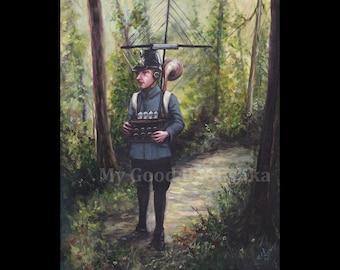 J'essaie très fort à vous, peinture originale, espion, espion, Radio ensemble, forêt, conte de fée, conte, bois, surréalistes, d'Ecoute