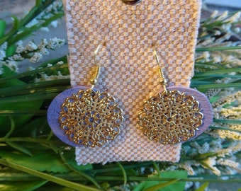 Lilac Leather Circles with Round Charms