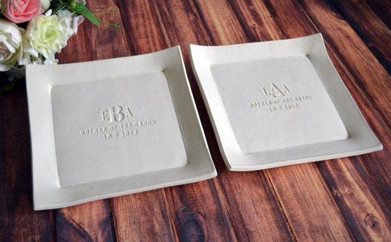Unique Parent Wedding Gift Ideas: Parent Wedding Gift Set Of Personalized Platters Mother Of