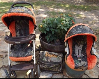 Reupholster infant car seat cover orange minky dot Realtree camouflage baby boy high quality gorgeous military hunting