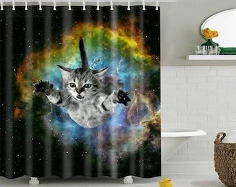 "Space Curt Cat Shower Curtain Sizes 59""X71"", 71""X71"""