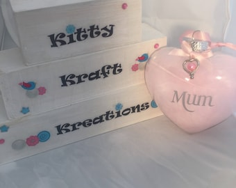 Personalised hanging glass bauble