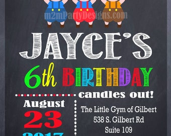 Three Little Pigs Invitation Big Bad Wold Invite Birthday Invitation Printable Digital