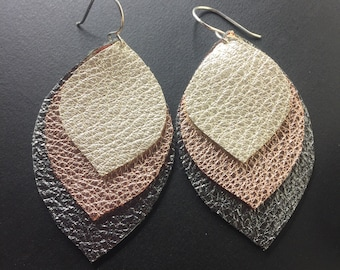 Leather Earrings - Mixed Metal Leather Earrings - Metallic Leather Earrings