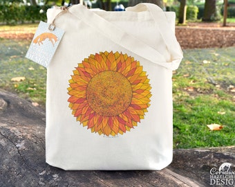 Sunflower Tote Bag, Ethically Produced Reusable Shopper Bag, Cotton Tote, Shopping Bag, Eco Tote Bag, Stocking Filler, Sunflower Gift