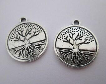 breloque arbre médaillon 23 x 20 mm en métal argenté