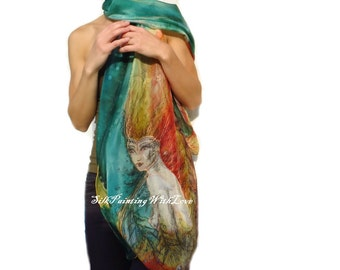 Silk scarf hand painted. Birthday gift. Art Ready to ship shawl Fairy Witch. Art wearable silk autumn green red. whimsical Birthday present