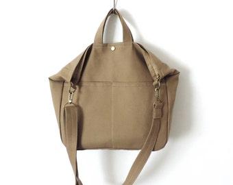 Canvas Crossbody Tote Bag Hobo Slouch Bag Tan