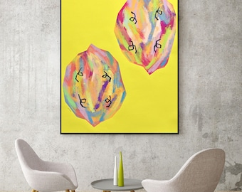 Original Pop Art Colorful Modern Art Original Abstract Painting Abstract Art Office Art Large Wall Art Yellow Painting Fruit Painting Lemons