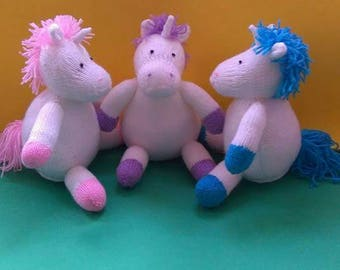 Unicorn hand knitted toy