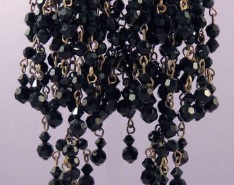 SIMONE EDOUARD Earrings, Simone Edouard Black Bead Earrings, Simone Edouard Couture Earrings, Black Duster Earrings, A Place of Distinction
