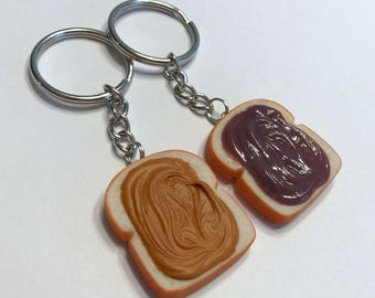Peanut Butter and Grape Jelly Key Chains, Polymer Clay Charms, Miniature Food, Best Friends