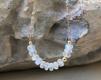Moonstone Necklace Gold or Silver, Moonstone Bar Necklace, Moonstone Jewelry, June Birthstone, Celestial Jewelry, Gift for Wife