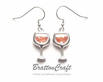 White Wine Glass Earrings - White Wine Earrings - Sterling Silver Wine Glass Earrings - Wine Earrings - Wine Lover
