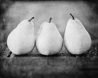 Black and White Kitchen Print or Canvas Art, Rustic Kitchen Decor, Black and White Pears Picture, Food Print, Kitchen Art, Kitchen.