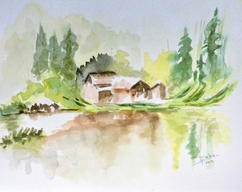 Cottage in the mountain - watercolor 24 x 32