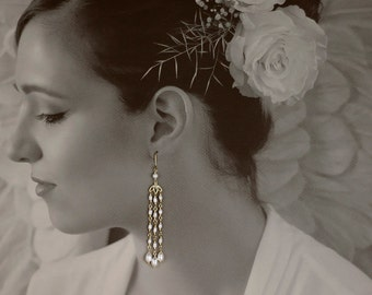 Tassel Pearl Earrings in Gold - Cherry Blossom Chandelier Earrings with Natural Freshwater Pearls - 00261 - allotria