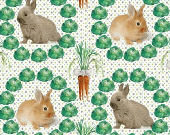 Fabric bunnies and carrots, cabbage, orange and green - fabric patchwork and quilt, 1/2 meter