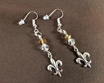 Glass Bead Fleur-de-lis Pendant Earrings