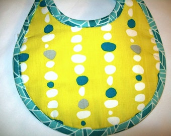 Organic Baby Bib - Citron Yellow - Stacked Pebbles - Little Birds - Blue - Can be Personalized with a Name